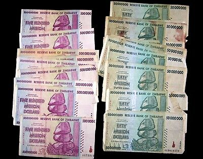 24 Zimbabwe banknotes-incl.10 x 500 million dollars-2008/DAMAGED/POOR CONDITION