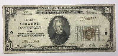 1929 $20 Type 1 First National Bank Note Of Davenport Iowa Ch#15