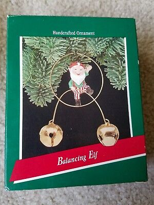 Vintage HALLMARK keepsake BALANCING ELF ORNAMENT 1989