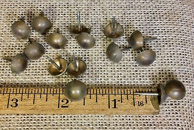"16 old SOLID BRASS TACKS 7/16"" diameter vintage upholstery dark tarnished head"