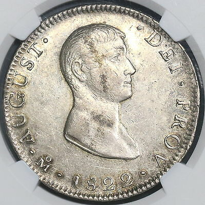 1822-Mo NGC AU 55 MEXICO Irtibute Silver 8 Reales Coin KM-304 (15111501D)