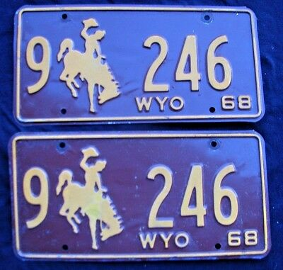"Wyoming 1968 Matching Pair  License Plate Plates  "" 9  246 ""  Low Number Wy 68"