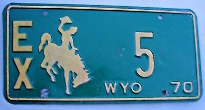 "Wyoming 1970 Bucking Bronco Exempt License Plate "" Ex  5 "" Low No. Wy Wyo 70"