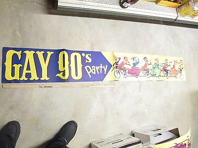 LIBBY'S 1950s GAY 90s advertising store display sign BANNER 6' sextuplet bicycle