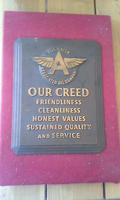 AWESOME & ORIGINAL SOLID BRASS 1940's - 1950's FLYING A PLAQUE....OVER 5 LBS...