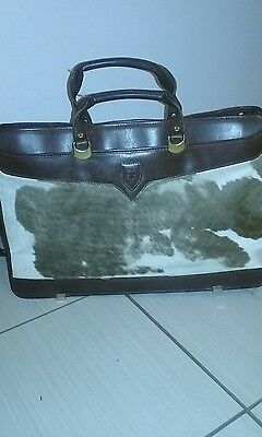 Rare Hartmann By Lombardo Brown Leather Briefcase W/ Calfskin Design- Guc!