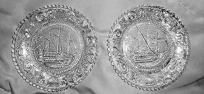 2 BOSTON & SANDWICH LACY FLINT GLASS CUP PLATE CHANCELLOR LIVINGSTON SHIP #2of3