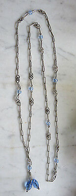 ANTIQUE c1900 VICTORIAN STERLING SILVER LONG CHAIN LINK NECKLACE 30 grams