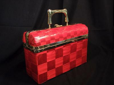 Vintage 50s Made in Italy Red Plastic Vinyl Weave Basket Box Purse Brass Trim