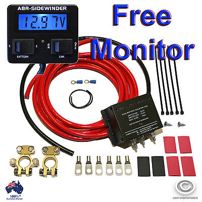 Dual Battery System 140A Full Kit Electronic Isolator Plus Monitor Volt Meter