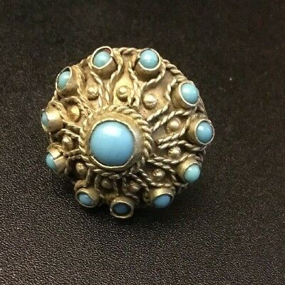 Vintage Estate Jewelry Silvertone Goldtone Turquoise Stone Ring Size 7 Untested