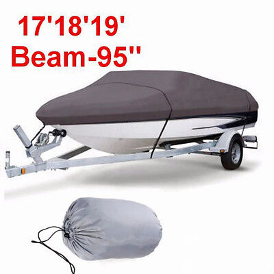 "17"" 18""19"" Boat Cover Beam-95'' Heavy Duty Trailerable 210D V-Hull Grey Fish Ski"
