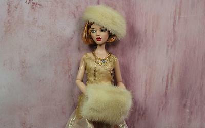 """~Cream Real Mink Fur Hat and Muff for Tonner's 16"""" Fashion dolls & Gene~dimitha"""