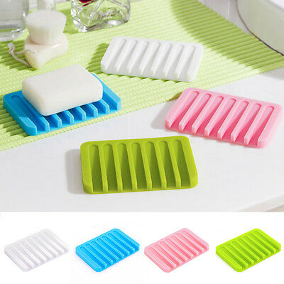 Kitchen Bathroom New Silicon  Flexible Soap Dish Plate Holder Tray Soapbox