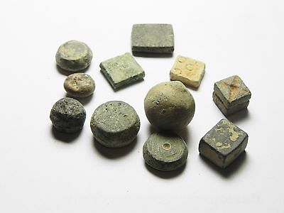 Zurqieh -  Aa7112- Ancient Jordan. Lot Of 10 Byzantine Bronze & Lead Weights