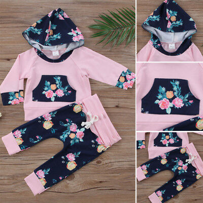 Newborn Kids Baby Girls Floral Hooded Tops Long Pants 2pcs Outfits Clothes Set