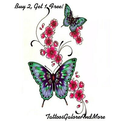 Small Blue & Pink Butterfly & Flower Tattoo, Henna Butterfly Temporary Tattoo
