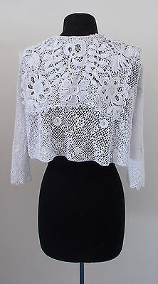 Beautiful French Edwardian Era Hand Crochet Cardigan With Magnificent Collar