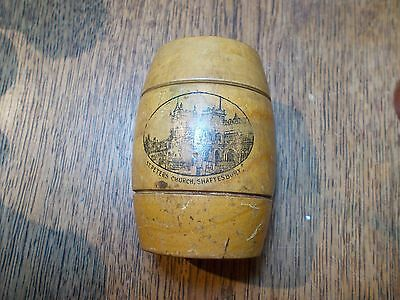 Antique Mauchline Barrel Shaped Stamp Money Box St. Peter's Church Shaftesbury