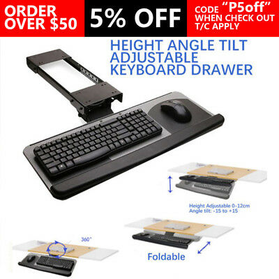 New Keyboard Drawer Tray Height Angle Tilt Adjustable 360 Rotation Home Office