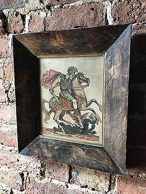 Antique 19th Century Victorian Scrap Collage Of George And The Dragon Metallic
