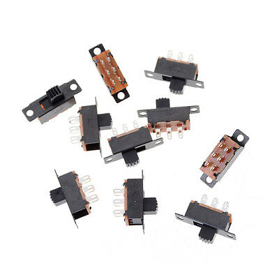 10X 2 Position DPDT 2P2T Panel Mount Vertical Slide Switch 6 Pin 0.5A 50V DC DSU