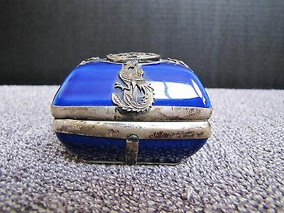 Antique Chinese Guangxu 光緒 Porcelain w/ Sterling Silver Dragon Overlay Box