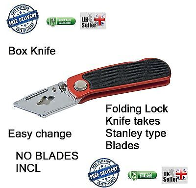 STANLEY Type Folding Utility Knife Red Lock Back Carpenters Builders NO Blades