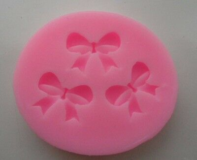 Bow Tie Shape 3 Cavaties Silicone Mold Fondant For Cakes Soap Candles Decoration