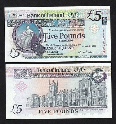 Northern Ireland 5 Pounds (2003) P79a Bank of Ireland banknote - UNC