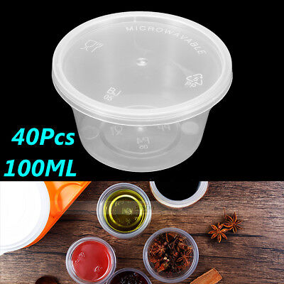 "40Pcs 1.6"" Clear 100ml Plastic Sauce Disposable Small Container Sauce Bowl Cup"
