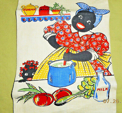 AAFA SIGNED PARAGON 1940s BLACK AMERICANA MAMMY KITCHEN LINEN TOWEL #1 OF 2 NOS