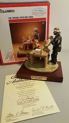 Flambro Emmett Kelly Jr Day At The Fair 9412 TROUBLE WITH HOT DOGS 1991 Box COA
