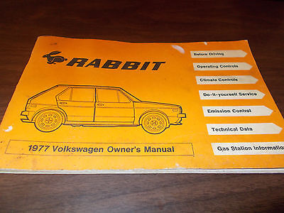 1977 Vw Volkswagen Rabbit Owners Manual Canada North America
