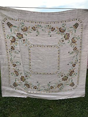 Vintage Taupe W/Brown & Yellow Cross Stitch Look Floral Print Linen Tablecloth