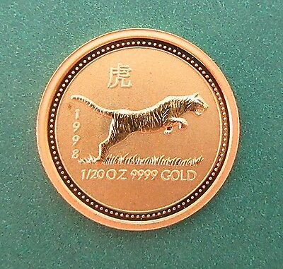 1998 AUSTRALIA LUNAR SERIES 1/20tH OZ GOLD~YEAR OF THE TIGER~LOW MINTAGE~RARE~