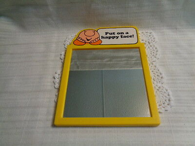 """Vintage Ziggy Comic Framed Mirror: PLASTIC - """"PUT ON A HAPPY FACE"""""""