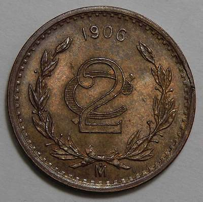 Mexico 1906 Two Centavo. Mint State Red/Brown.