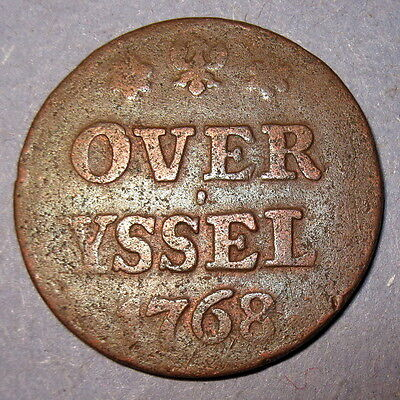 COA 1768 New York Penny Dutch Colonial Overijssel Mint Copper Colonial Penny
