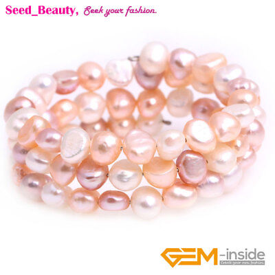 """6-8mm Genuine Freshwater Pearl Beads Adjustable Bangle Bracelet 7"""" With Gift Box"""