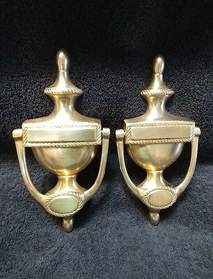 Set Of Vintage Solid Brass Door Knockers Matching Engravable Areas