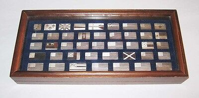 Franklin Mint 42 Great Flags of America Sterling Silver w/ Display Case 1974