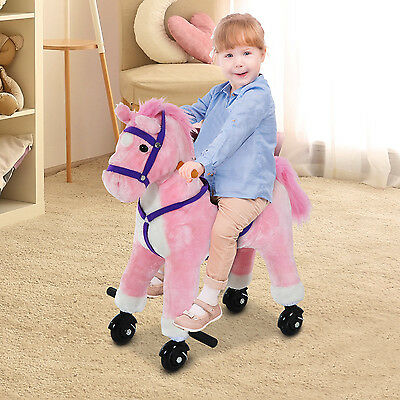 Kids Walking Pony Ride on Horse Rocking Toy Wheels & Footrest Neigh Sound Pink