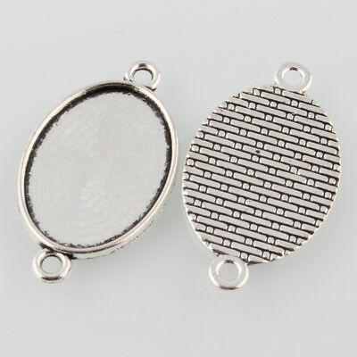 10pcs Antique Silver Alloy Tibetan Style Oval Cabochon Settings  (Tray:25x18mm)