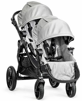 Baby Jogger City Select Twin Tandem Double Stroller Silver w/ Second Seat NEW