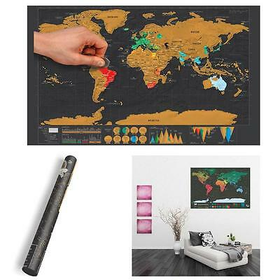 Mini Black Deluxe Travel Scrape World Map Poster Traveler Vacation Log Gift QX