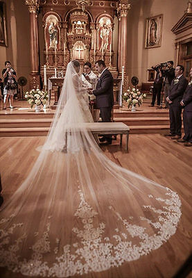 Cathedral Ivory White Long Wedding Veils 400 cm 1T Lace Edge Bridal Veil Comb