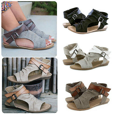 Women Ladies Summer Peep Toe Flat Buckle Sandals Side Zipper Ankle Strap Shoes