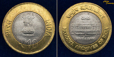 2017 INDIA NEW 10 Rs NATIONAL ARCHIVES OF INDIA 125th ANN. BI-METALLIC COIN UNC
