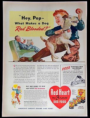 Vintage 1941 Red Heart The 3-Flavor Dog Food Magazine Ad Keep Dog Red Blooded